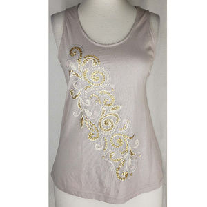Cynthia Rowley sequin detail mixed fabric top